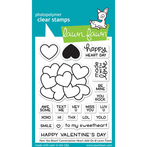 Lawn Fawn - How You Bean? CONVERSATION HEART Add-On - Clear Stamps Set