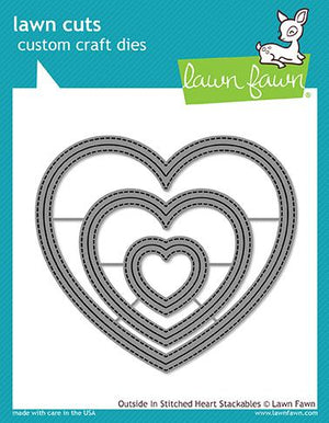 Lawn Fawn - Outside In Stitched HEART Stackables - Lawn Cuts DIES