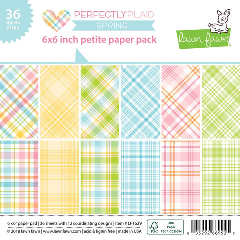 Lawn Fawn - PERFECTLY PLAID SPRING Petite Paper Pack 6x6 - 36 sheets