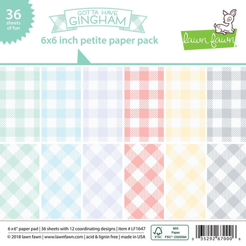 Lawn Fawn - GOTTA HAVE GINGHAM Petite Paper Pack 6x6 - 36 sheets