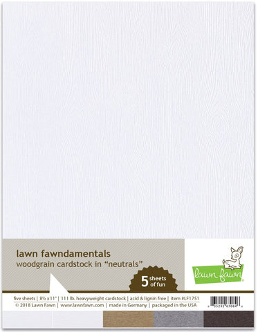 Lawn Fawn - Woodgrain Cardstock NEUTRALS 8.5x11 Paper Pack (Pre-Order - Available Aug 23rd)