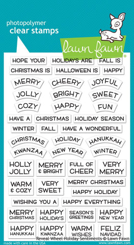 Lawn Fawn - REVEAL WHEEL HOLIDAY Sentiments - Stamp set