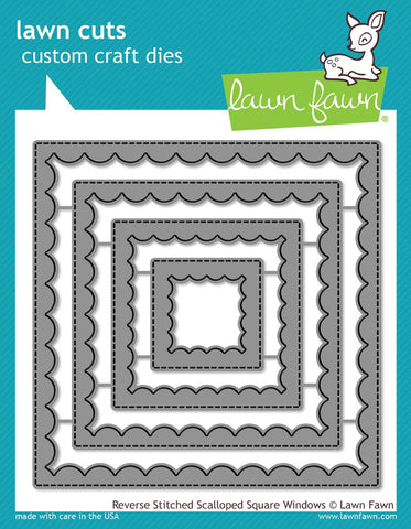 Lawn Fawn - REVERSE STITCHED SCALLOP SQUARE WINDOWS Dies set (Pre-Order - Available Aug 23rd)
