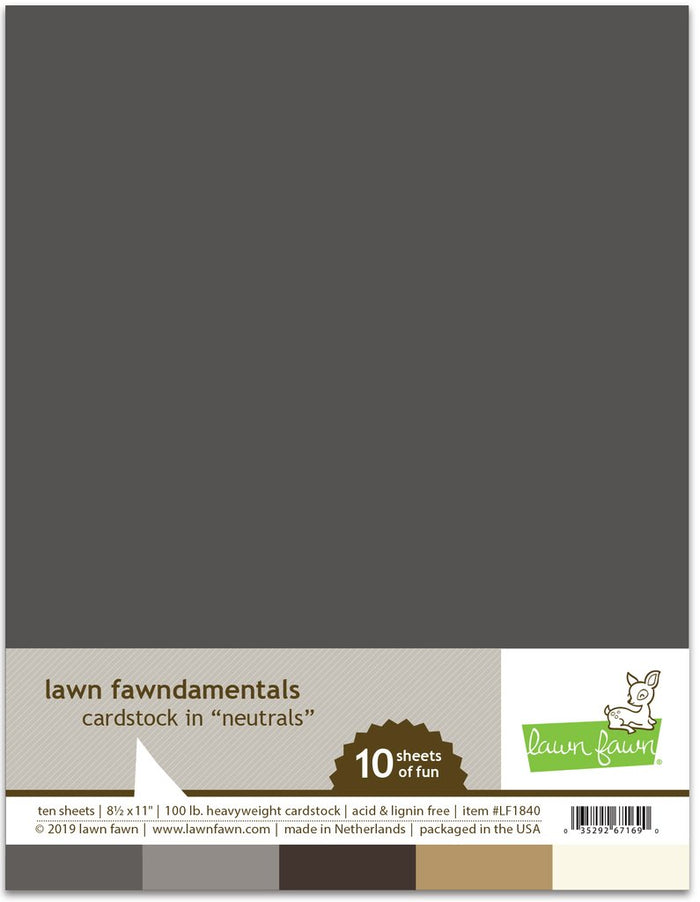 Lawn Fawn - NEUTRALS Cardstock 8.5x11 Paper Pack