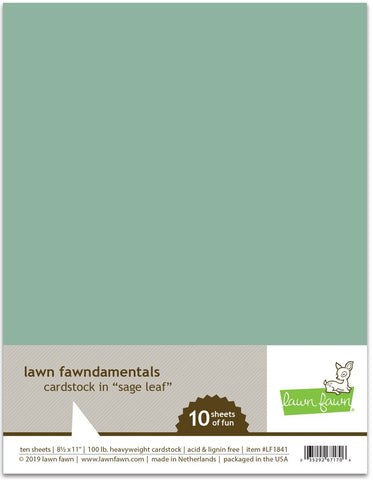 Lawn Fawn - SAGE LEAF Cardstock - 8.5x11 Paper Pack 10 Sheets - PRE-ORDER