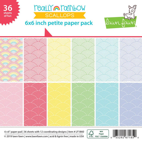 Lawn Fawn - REALLY RAINBOW SCALLOPS Petite Paper Pack 6x6