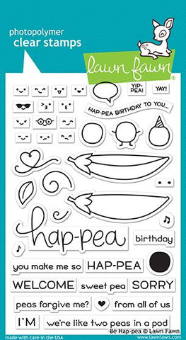 Lawn Fawn - BE HAP-PEA - Clear Stamps Set - PRE-ORDER