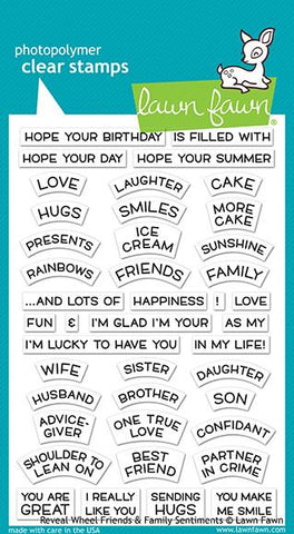 Lawn Fawn - Reveal Wheel FRIENDS and FAMILY SENTIMENTS - Stamp Set