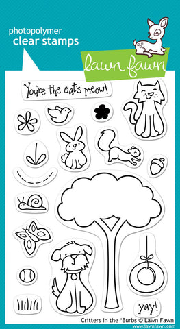 Lawn Fawn - Critters in the 'Burbs - CLEAR STAMPS 18 pc - Hallmark Scrapbook - 1