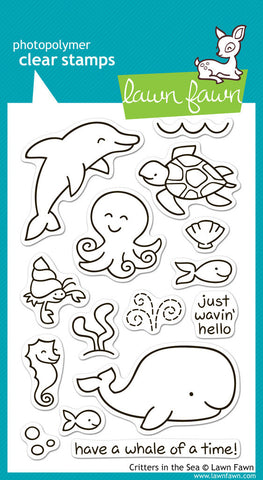 Lawn Fawn - Critters in the Sea - CLEAR STAMPS 18 pc - Hallmark Scrapbook - 1