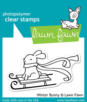 Lawn Fawn - WINTER BUNNY - Clear STAMPS - Hallmark Scrapbook - 1