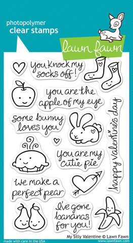 Lawn Fawn - MY SILLY VALENTINE - Clear STAMPS 16pc - Hallmark Scrapbook - 1