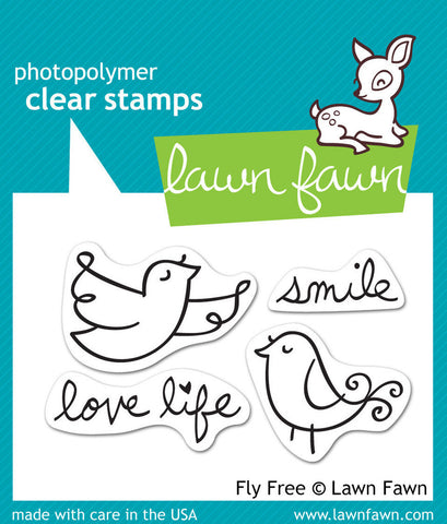 Lawn Fawn - FLY FREE - Clear STAMPS 4pc - Hallmark Scrapbook - 1