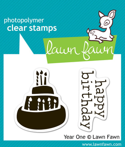 Lawn Fawn - Year One - Clear STAMPS 2pc - Hallmark Scrapbook - 1