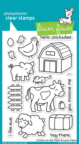 Lawn Fawn - Critters on the Farm - CLEAR STAMPS 17 pc - Hallmark Scrapbook - 1