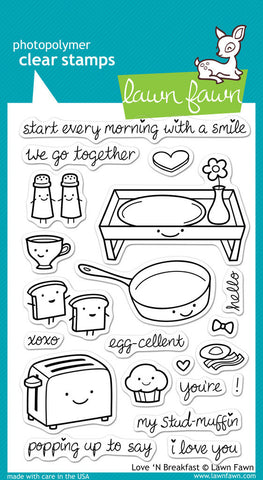 Lawn Fawn - LOVE 'N BREAKFAST - Clear STAMPS 21pc - Hallmark Scrapbook - 1