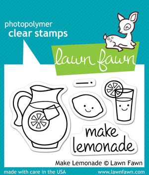 Lawn Fawn - MAKE LEMONADE - Clear STAMPS 5pc - Hallmark Scrapbook - 1