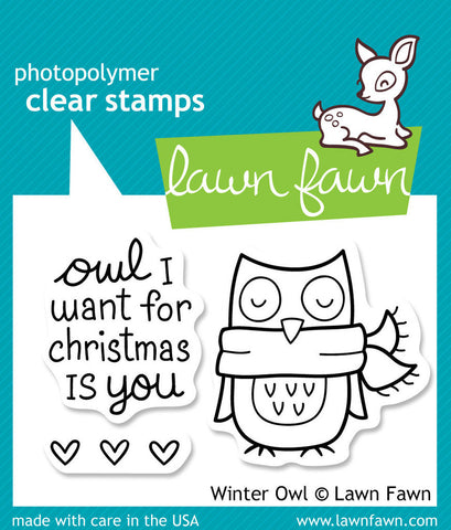 Lawn Fawn - Winter Owl - CLEAR STAMPS 3 pc - Hallmark Scrapbook - 1