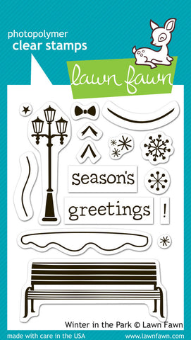 Lawn Fawn - WINTER IN THE PARK - Lawn Fawn Clear STAMPS 16pc - Hallmark Scrapbook - 1