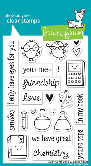 Lawn Fawn - Science of Love - CLEAR STAMPS 23 pc - Hallmark Scrapbook - 1