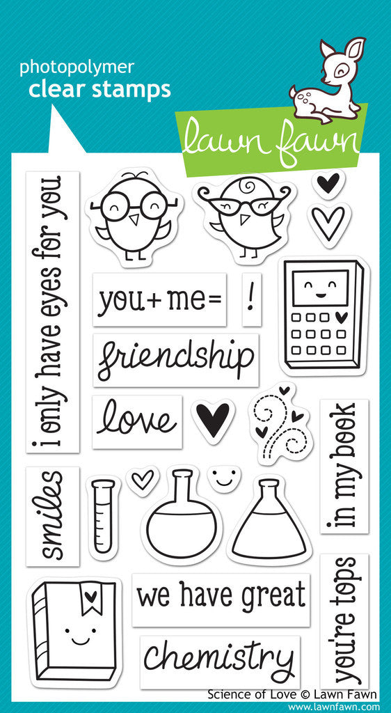 Lawn Fawn - Science of Love - CLEAR STAMPS 23 pc