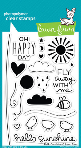 Lawn Fawn - Hello Sunshine - CLEAR STAMPS 22 pc - Hallmark Scrapbook - 1