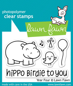 Lawn Fawn - Year Four- Hippo Birdie to you- CLEAR STAMPS 6 pc - Hallmark Scrapbook - 1