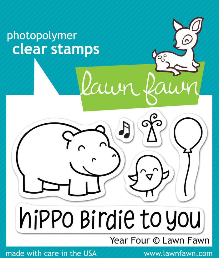 Lawn Fawn - Year Four- Hippo Birdie to you- CLEAR STAMPS 6 pc