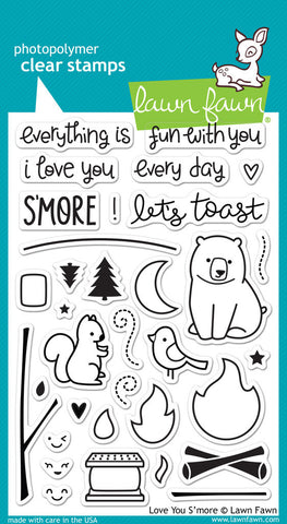 Lawn Fawn - Love You S'more - CLEAR STAMPS 34 pc - Hallmark Scrapbook - 1