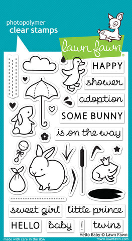 Lawn Fawn - Hello Baby - CLEAR STAMPS 24 pc - Hallmark Scrapbook - 1