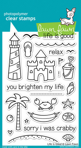 Lawn Fawn - Life Is Good - CLEAR STAMPS 25 pc - Hallmark Scrapbook - 1