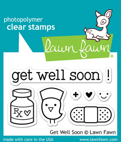 Lawn Fawn - Get Well Soon - CLEAR STAMPS 8 pc - Hallmark Scrapbook - 1
