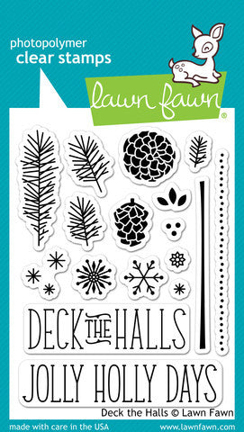 Lawn Fawn - Deck the Halls - CLEAR STAMPS 17 pc - Hallmark Scrapbook - 1