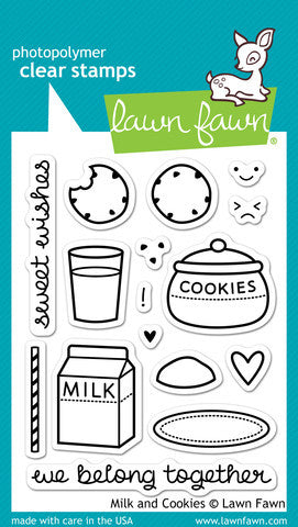 Lawn Fawn - Milk and Cookies - CLEAR STAMPS 16 pc - Hallmark Scrapbook - 1
