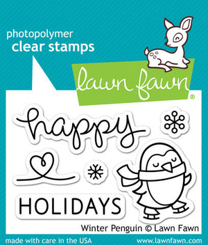 Lawn Fawn - Winter Penguin - CLEAR STAMPS 5 pc - Hallmark Scrapbook - 1