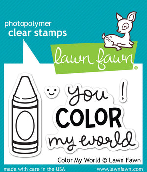 Lawn Fawn - COLOR MY WORLD - Clear STAMPS 4pc - Hallmark Scrapbook