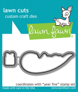 Lawn Fawn - YEAR FIVE (otter) - Lawn Cuts DIES 2pc - Hallmark Scrapbook - 1