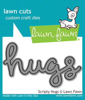 Lawn Fawn - Scripty HUGS - Lawn Cuts DIE 1 pc - Hallmark Scrapbook