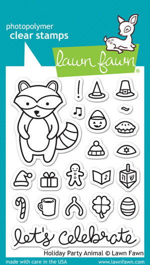 Lawn Fawn - HOLIDAY PARTY ANIMAL - Clear Stamps set - Hallmark Scrapbook - 1