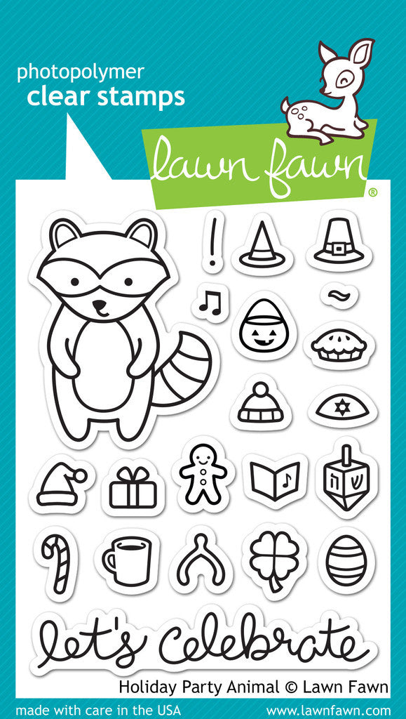 Lawn Fawn - HOLIDAY PARTY ANIMAL - Clear Stamps set *