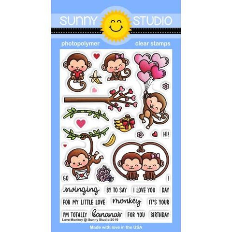 Sunny Studio - LOVE MONKEY - Stamps Set