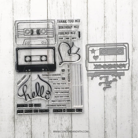 Concord & 9th - MIX TAPE Clear Stamp and Dies BUNDLE