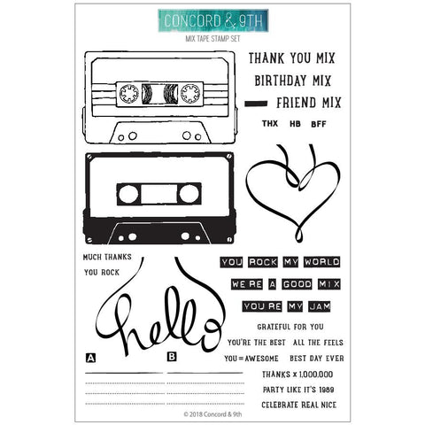 Concord & 9th - MIX TAPE Clear Stamp set