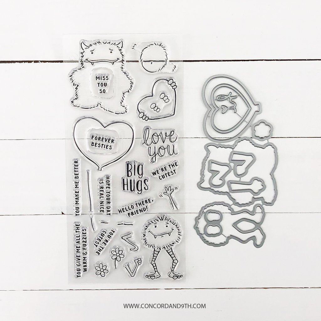 Concord & 9th - MONSTER LOVE Clear Stamps and Dies BUNDLE set