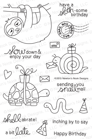 Newton's Nook Designs - IN SLOW MOTION Clear Stamps - Hallmark Scrapbook - 1