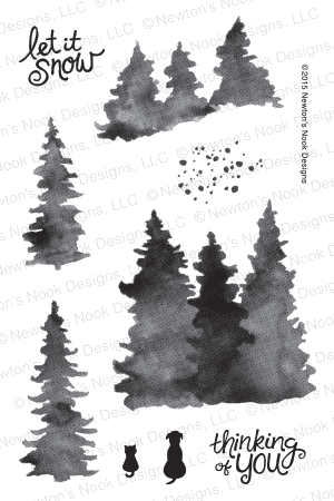 Newton's Nook Designs - WHISPERING PINES Clear Stamps - Hallmark Scrapbook - 1