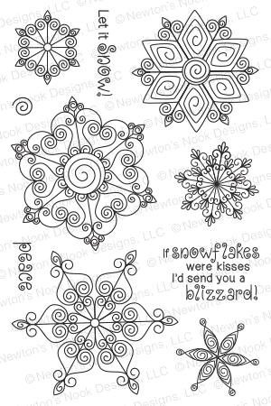 Newton's Nook Designs - BEAUTIFUL BLIZZARD Clear Stamps - Hallmark Scrapbook - 1
