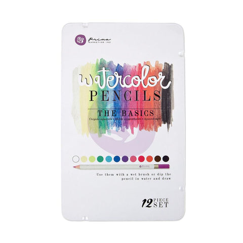 Prima Watercolor Pencils - THE BASICS 12pc Set - Hallmark Scrapbook - 1