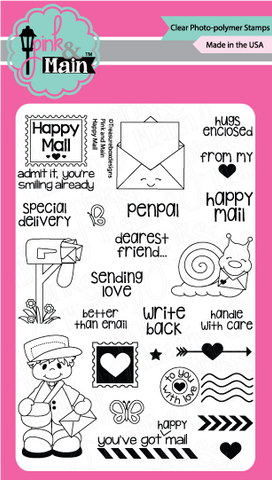 Pink & Main - HAPPY MAIL - Clear Stamps - Hallmark Scrapbook - 1