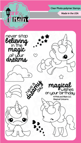 Pink & Main - MAGICAL UNICORNS - Clear Stamps - Hallmark Scrapbook - 1
